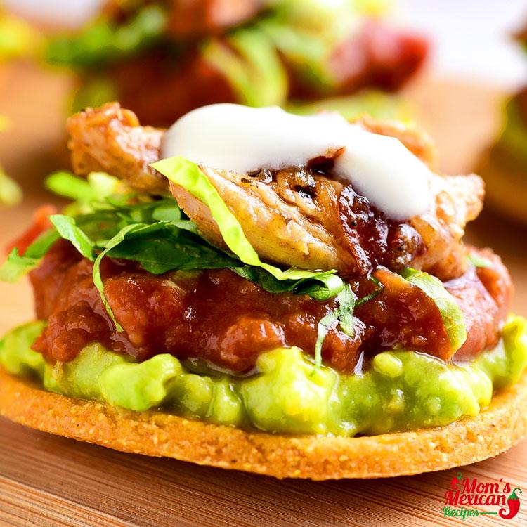 Chicken Guacamole Bean Tostadas