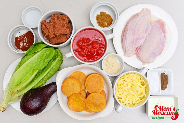 Chicken Guacamole and Bean Tostadas ingredients