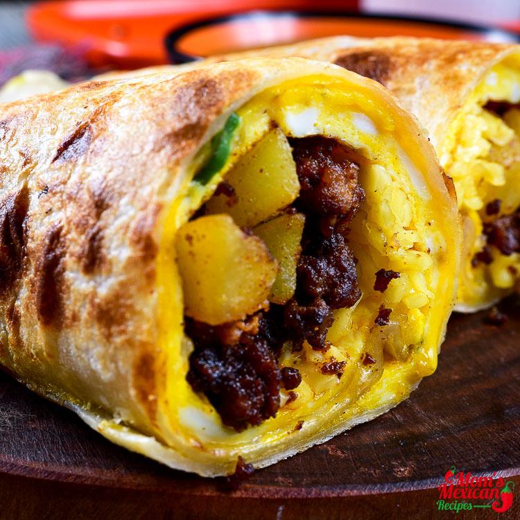 Chorizo Breakfast Burritos Recipe
