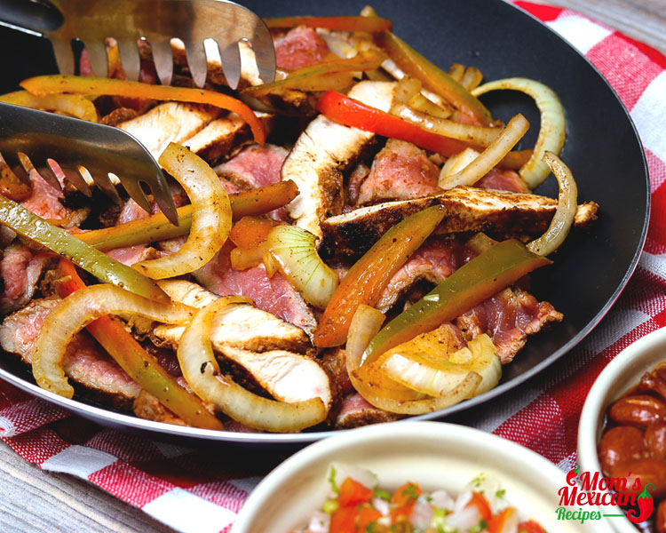 Serving Chicken and Beef Fajitas