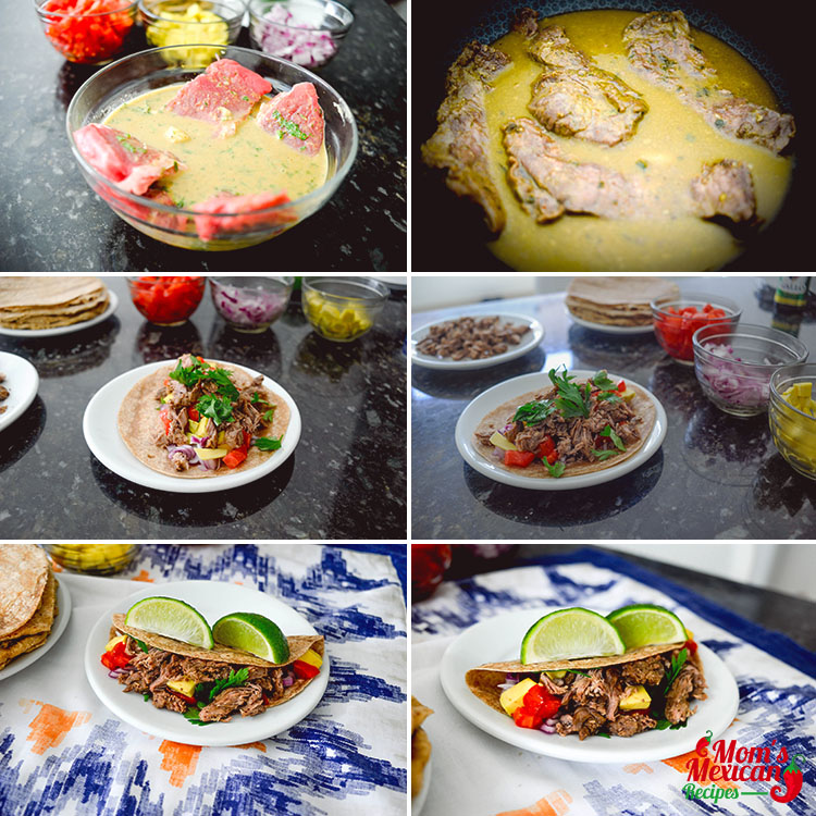 Slow Cooker Carne Asada Street Tacos Preparations